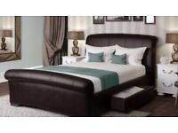 Faux leather king size bed frame and matching Ottoman
