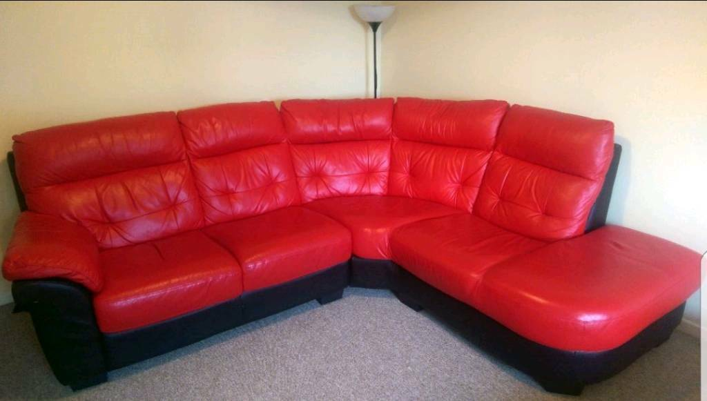Red leather corner sofa new pero faux leather corner sofa for Red corner sofa