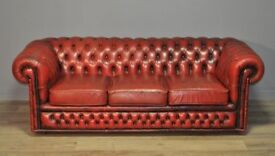 Large Vintage Red Leather Button Back Chesterfield 3 Seat Sofa Couch Settee