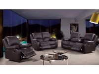 Tonto 3 & 2 Black Bonded Leather Luxury Recliner Sofa Set With Pull Down Drink Holder. UK Delivery!