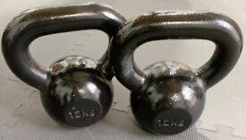 x2 12kg (24kg total) Black Cast Iron Metal Kettlebells NEVER USED