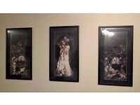 Set of three Gothic style framed pictures
