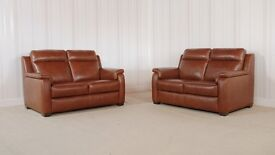 Homeflair Leather Brown Sofa (15) £999