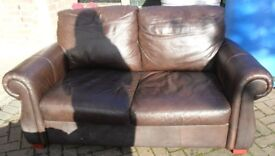 Brown Leather 2 Seater Settee/ Sofa