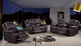 Volda Luxury Bonded LEather REcliner Sofa Set With Pull Down Drink Holder