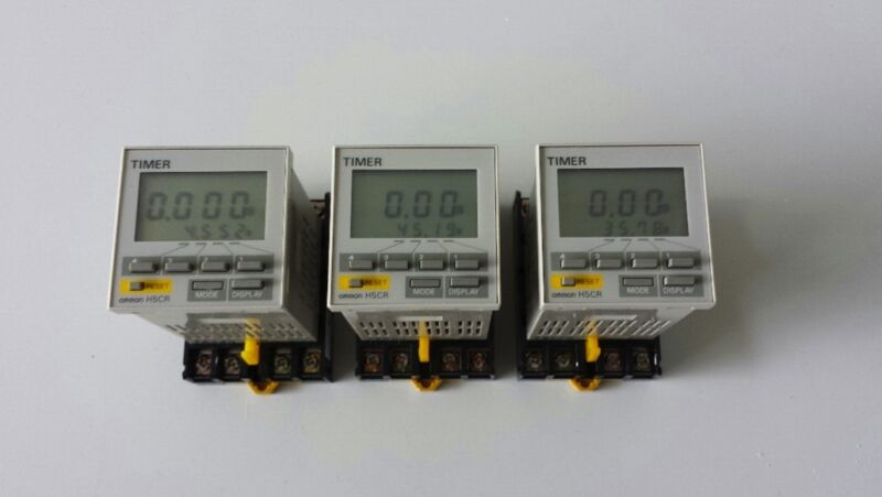 Lot of 3 Omron H5CR-L Timer with base