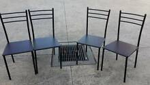 Black metal framed Dinning chairs x 4 Airds Campbelltown Area Preview