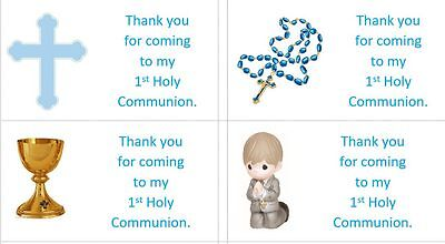 40 x Personalised 1st Holy Communion/Boys labels/stickers/party/cake/sweets/bag](Communion Party Bags)