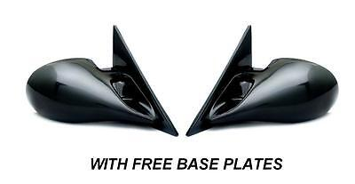 PEUGEOT 206 BLACK M3 ELECTRIC PAIR DOOR WING MIRRORS E MARKED & BASE PLATES