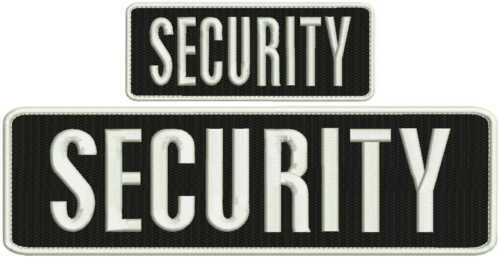 Security embroidery patch 3x10 and 2x4 hook all white