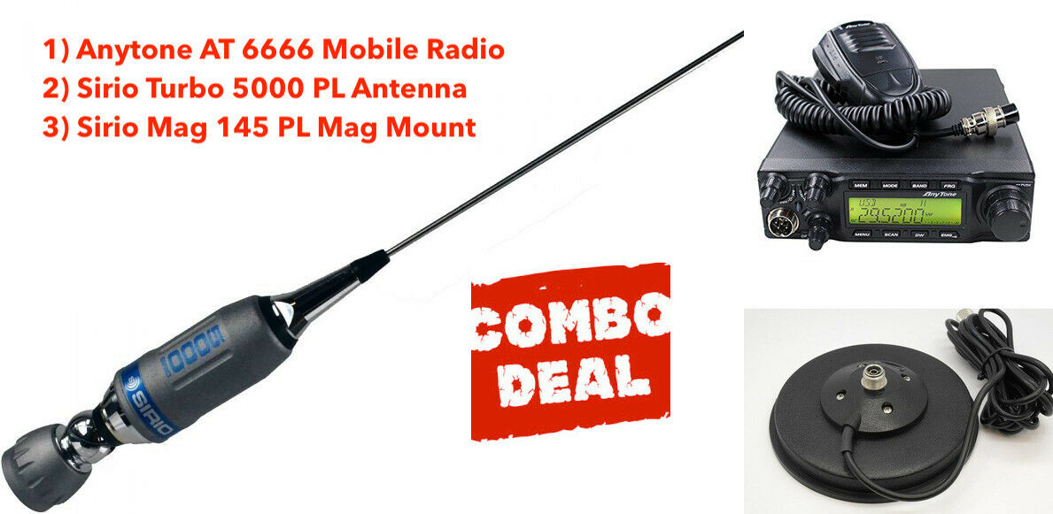 Anytone AT 6666 All Mode Radio /& Sirio Fighter 5000 Roof Mount Antenna Kit