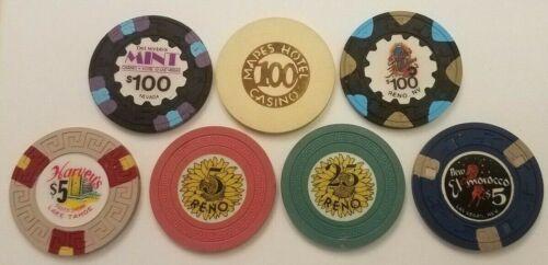 Lot Of 7 Various Reno, Vegas & Tahoe Casino Chips, Harveys, Mapes, Sunflower etc