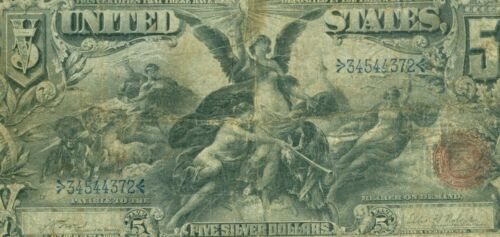1896 $5 *Educational* Large Size Silver Certificate *RARE* Fr 270 Lyons-Roberts