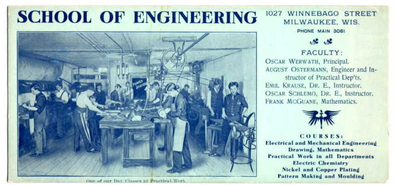 MILWAUKEE SCHOOL OF ENGINEERING INK BLOTTER CA 1925