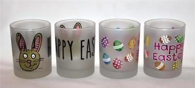 4 (2 Ea) Culver Frosted HAPPY EASTER Bunny Eggs DOF LowBall Glass Tumblers NEW