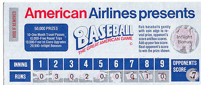 1980 American Airlines Baseball Lottery Game Tickets  Non Winners  Total Of 10