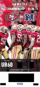 SAN FRANCISCO 49ERS 2013 'PHANTOM' NFC CHAMPIONSHIP GAME TICKET @ CANDLESTICK