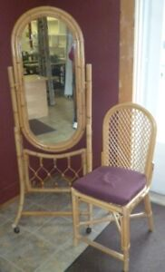 Bamboo mirror and chair