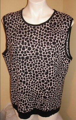 ST JOHN  BLACK BLUSH GIRAFFE  ANIMAL PRINT WOOL SHELL TANK TOP P