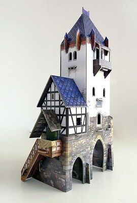 Cardboard model kit. The medieval town. The watch tower. Wargame landscape.