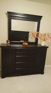 Dresser with mirror, 2 night tables, headboard (no bed frame)