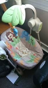 Blue Bassinet and Baby Swing