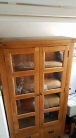 Free Standing Wooden/Glass Cabinet