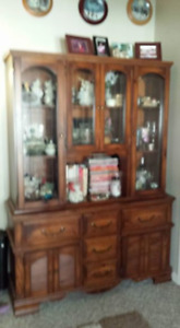 Wood Dining Room Set with Buffet and Hutch