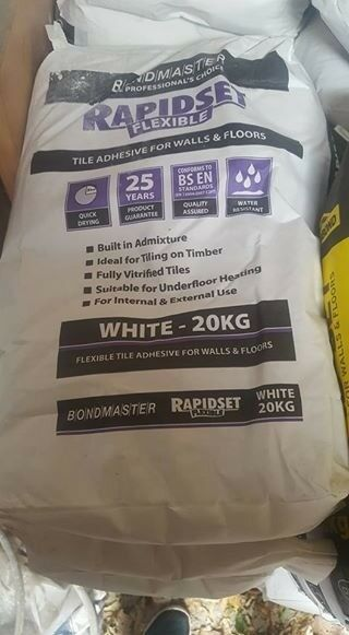 White Flexi Wall and Floor Tile Adhesive. 20kg Topps Tiles selling it for £41.99.