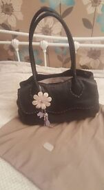 Genuine Radley Black Leather Handbag - Excellent Condition with original gift bag