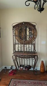 Metal /Stone table with wine rack and display case