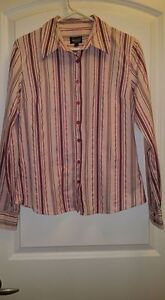 Long Sleeve Pink shimmery Striped Blouse -- Medium --Yorkton, SK