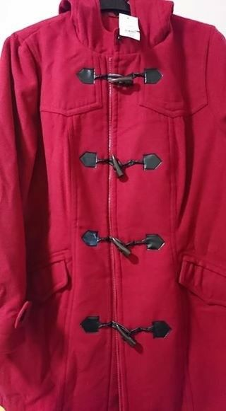 ee2438a9b852c  NEW  EVANS RED ZIP UP TOGGLE DUFFLE COAT with HOOD - Plus Size 26   28