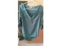 Green 3/4 Length Sleeve Blouse - Size 8