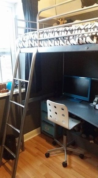 Ikea Loft Bed Metal Grey Comes With Attached Desk And White Chair No Mattress