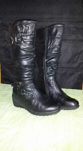 Tall Black Wedge Lined Boots
