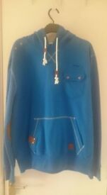 Men's New Blue Hoodie with Tan Faux Suede Trim, Size Medium