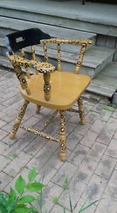 Leopard painted, wooden chair