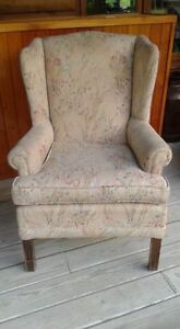 Floral print wing back chair