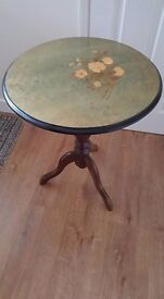 Side Corner Table Green coloured top with flower pattern with mahogany coloured legs