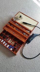 Mastercraft rotary tool with huge accessories wooden box.