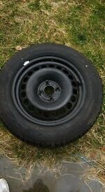 1 vauxhall corsa steel wheel and Dunlop tyre like new 185 65 15
