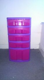 5 Draw plastic storage unit