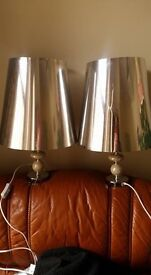 LOVELY PAIR OF SILVER LAMPS IDEAL FOR BEDROOM OR LIVING ROOM