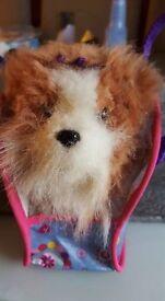 Fur real mini pup in hand bag