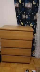 IKEA   MALM   4-drawer chest, white stained oak veneer