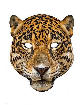 Leopard Tier 2D Karten Party Gesichtsmaske Kostüm Zoo Safari (Leopard Gesicht Kostüm)
