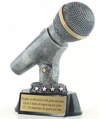 Silver Microphone Trophy / Karaoke Award (CM-99001) - DECADE AWARDS Exclusive - Microphone Trophies