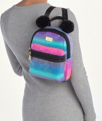NWT Luv Betsey Johnson Bally Backpack Black & Multi-Color Sequin w/ Pom Pom Ears