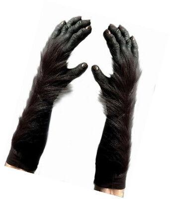 Gorilla Hands Black Latex & Faux Fur Realistic Looking Costume Gloves OS - Gorilla Costume Realistic